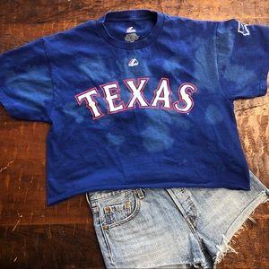 Texas Rangers Custom Cropped Distressed Tee